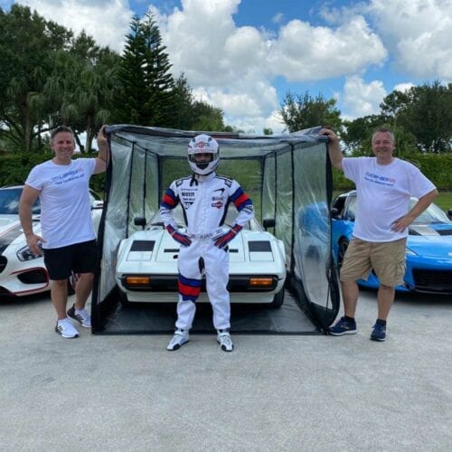 Stig in Airchamber with Ferrari 308 Mercedes AMG GT and Lotus Evora GT